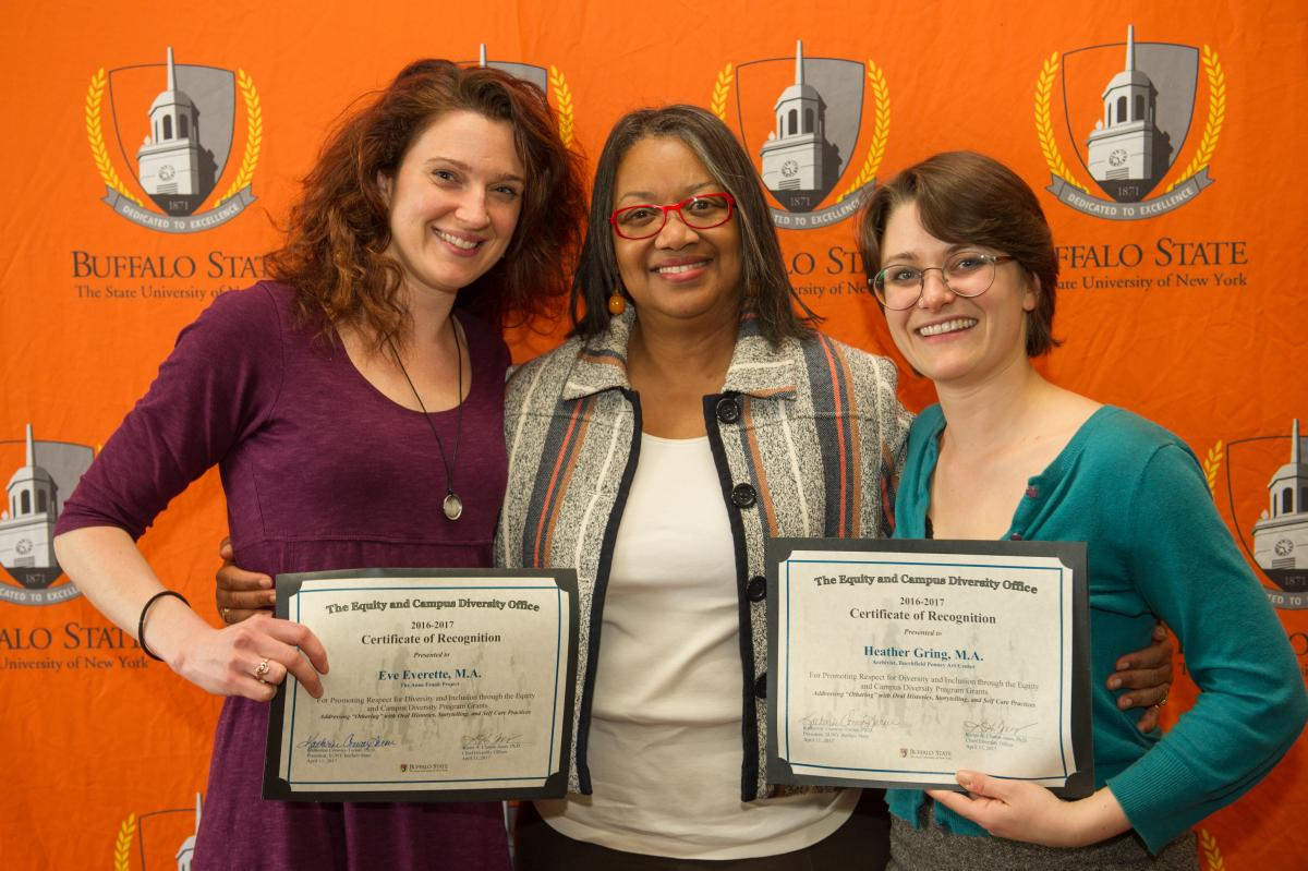 Eve Everette, M.A., Heather Gring, M.A., with President Conway-Turner