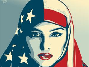 Woman with American Flag burka